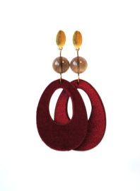 Oorbellen met rookkwarts en velvet hanger bordeaux