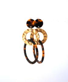 Oorbellen leopard print en goldplated gouden ring