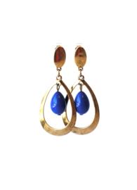 Oorbellen met koningsblauwe crystalparel en oud goud
