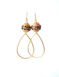 Oorbellen bohemian oud roze/goud met druppel middelgroot