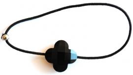 armband met elastiek en klavertje 4 (14mm) zwart