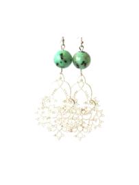 Oorbellen met kiwi jaspis en ornament