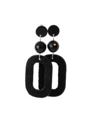 Oorbellen met onyx en velvet hanger zwart