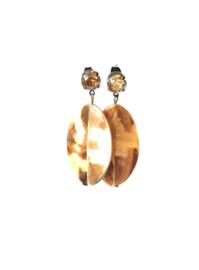 Oorbellen met swarovski crystal licht bruin en oester schelp