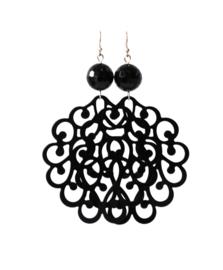 Oorbellen met filigrain groot zwart en onyx