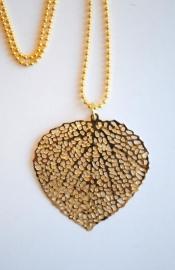 Ketting met filigrain blad goud