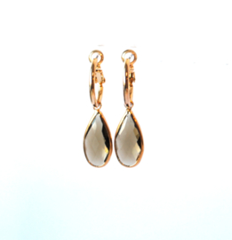 Oorbellen creool goud en crystal hanger bruin