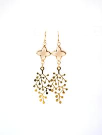 Oorbellen met crystal bruin en hanger goldplated ⭥ 5 cm