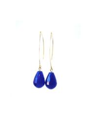 Ellips oorbellen met agaat blauw