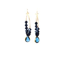Oorbellen met swarovski crystal blauw