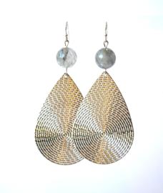 Orbellen met grijskwarts en hanger zilver