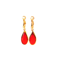 Oorbellen creool goud en crystal hanger rood