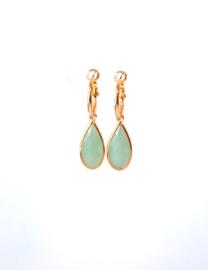 Oorbellen creool goud en crystal hanger turquoise/groen