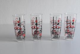 4 vintage glazen van de brouwerij lamot uit mechelen jaren 60 (Art.21-1902)