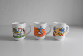 Drie bekers Smurfen arcopal uit 1990/1991 Dixan  (Art.21-1893)