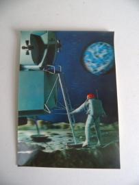 Oude 3D Stereo Postkaart ongelopen Lunar Landing (Art.15-3311)