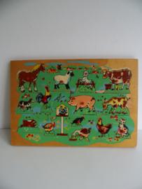 Houten noppenpuzzel dieren jaren 60 (Art.18-2226)