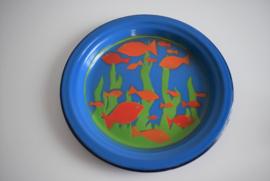 Emaille dinerbord met afbeelding vissen (Art.21-2035)
