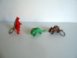 3 oude Dinosaurus sleutelhangers jaren 60/70(Art.18-2105)
