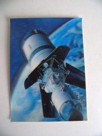 Oude 3D Stereo Postkaart ongelopen Lunar Module (Art.15-3312)