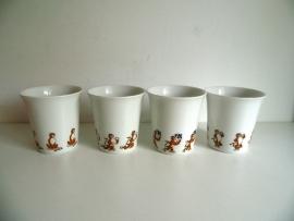 4 Oude 4 Bekers Seltmann Weiden-e met de Esso tiger (Art.16-2305)