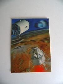 Oude 3D Stereo Postkaart ongelopen Lunar Module (Art.15-3313)