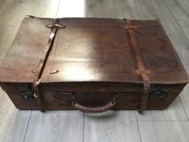 Leren oude koffer