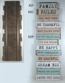 Tekstbord hout Family rules*