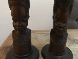 Set afrikaanse kandelaars.(6 stuks)