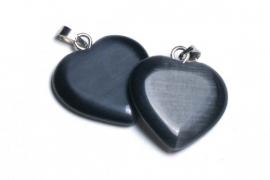 90133 Cats eye hanger hart zwart 20mm