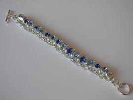 A1380 Jasseron armband incl 8 mm Swarovski stenen Saffier en light Saffier