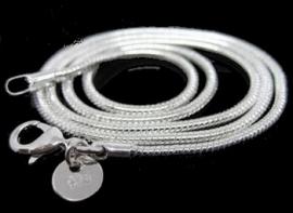 1 mm zilveren ketting 76 cm