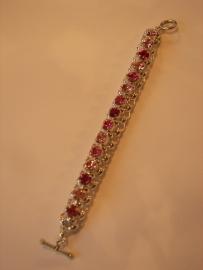 A1371 Jasseron armband incl 8 mm Swarovski stenen lt Roze, Roze en Fuchia