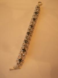 A1360 Jasseron armband incl 8 mm Swarovski stenen Chrystal en Black Diamond