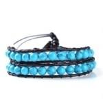 2012501 Lu Lu armband dubbel met Aqua blauwe half edelstenen