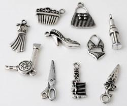 ´09912 Mix 10 x Metalen hanger/bedel Mode/kapper18-26 mm oudzilverkl 10 st