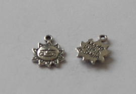 73002 Zon met lachend gezicht met tekst Made with a smile 16x12 mm