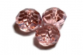 39317 Kristallen rondel 9x12 mm roze zalm