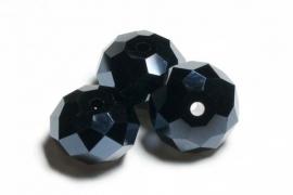 39323 Kristallen rondel 9x12 mm Zwart Hematite Jet