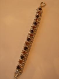 A1341 Jasseron armband incl 8 mm Swarovski stenen Topas en Light Topaz