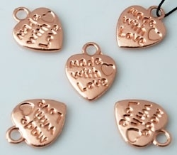 76003 Metalen hanger/bedel hartje made with Love Roze Goud 12x10 mm