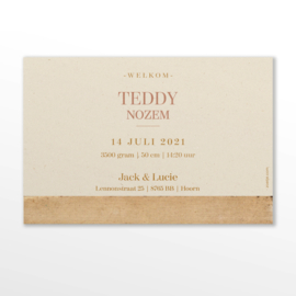 GEBOORTEKAARTJE VINTAGE VEZELPAPIER MEISJE 'TEDDY'