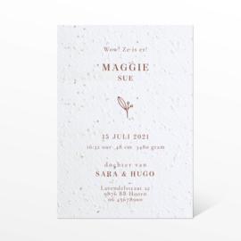 GEBOORTEKAARTJE GROEIPAPIER INITIAAL 'MAGGIE'