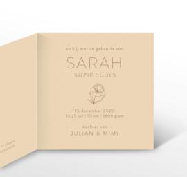 GEBOORTEKAARTJE ILLUSTRATIE 'SARAH'