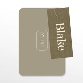 FLUWEEL LABEL GEBOORTEKAARTJE BOTANISCH JONGEN 'BLAKE'