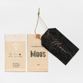 GEBOORTEKAARTJE LABEL STOF VILT MET KOPERFOLIE 'MOOS'