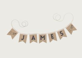 NAAMSLINGER OF GEBOORTESLINGER PAPERPLANE 'JAMES' (PRIJS PER LETTER)