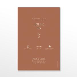 GEBOORTEKAARTJE LABEL GROEIPAPIER MINIMALISTISCH 'JOLIE'