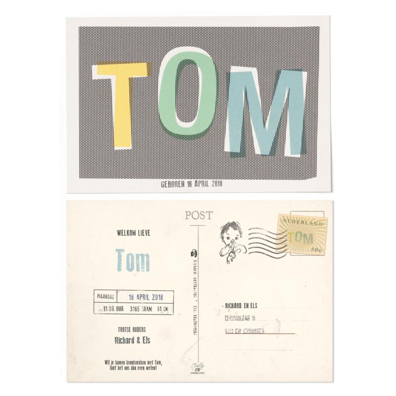 GEBOORTEKAARTJE ANSICHTKAART 'TOM'