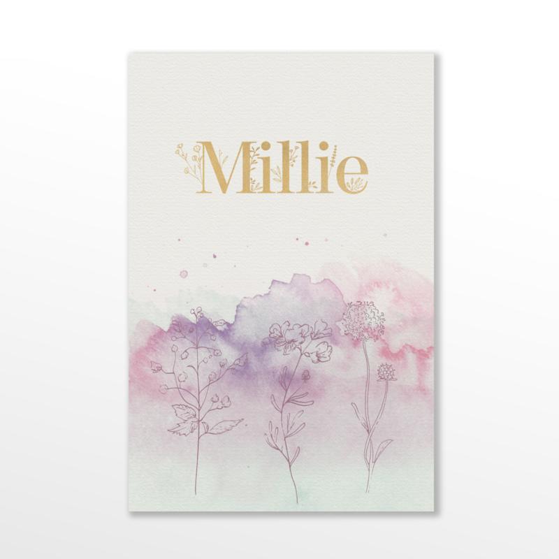 GEBOORTEKAARTJE WATERCOLOR MEISJE 'MILLIE'
